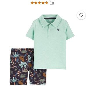 NWT Carter's 2-Piece Slub Polo Tropical Short Set